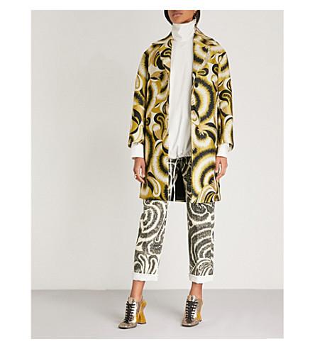 DRIES VAN NOTEN Floral-jacquard coat (Yellow