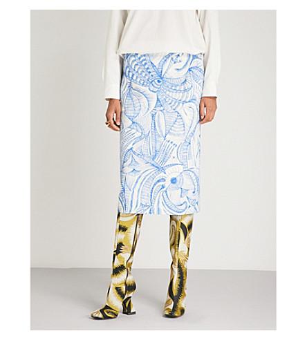 DRIES VAN NOTEN High-rise cotton pencil skirt (Des+b
