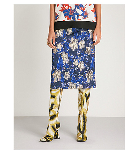 DRIES VAN NOTEN Floral metallic-brocade skirt Blue Outlet Prices Discount Geniue Stockist dpd8nb2TSl
