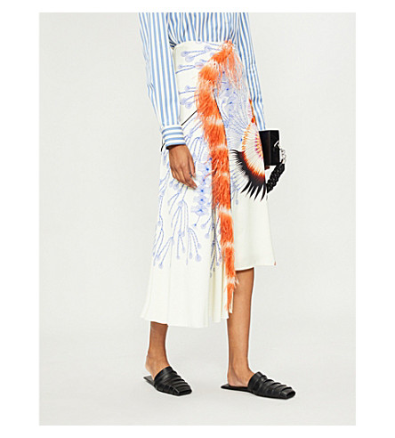 DRIES VAN NOTEN Feather-trim printed crepe skirt (Ecru