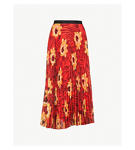 DRIES VAN NOTEN Pleated floral-print chiffon skirt (Coral