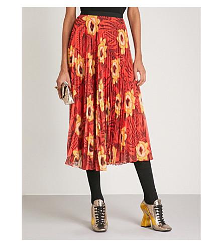 DRIES VAN NOTEN Pleated floral-print chiffon skirt (Coral