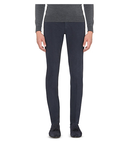 SLOWEAR Slim-fit tapered stretch-cotton trousers (Navy