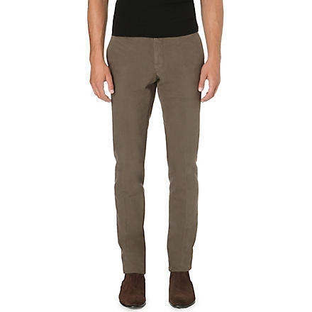 SLOWEAR Slim-fit tapered stretch-cotton trousers (Olive