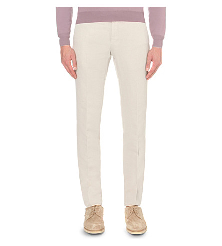 SLOWEAR Slim-fit linen-blend trousers (Beige