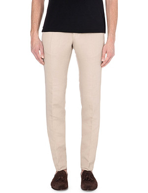 SLOWEAR Slim-fit linen and cotton-blend chinos