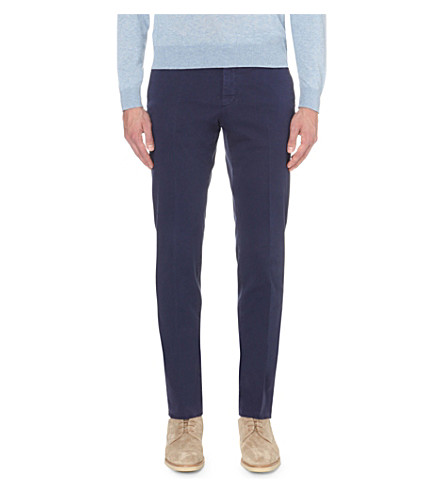 SLOWEAR Slim-fit stretch-cotton chinos (Navy