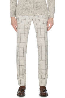 SLOWEAR Windowpane-checked wool trousers