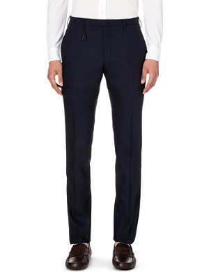 SLOWEAR Herringbone slim-fit tapered wool trousers
