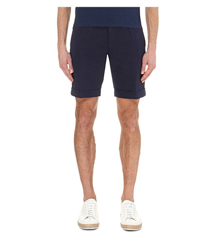 SLOWEAR Slim-fit linen-blend chino shorts (Navy