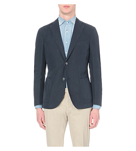 SLOWEAR Single-breasted linen and cotton-blend blazer (Navy