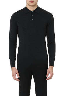 SLOWEAR SPA Knitted long-sleeved polo shirt