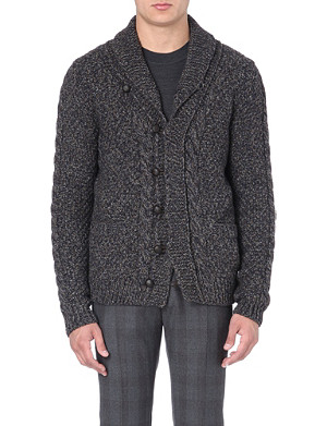 SLOWEAR Shawl-collar wool and yak-blend cardigan