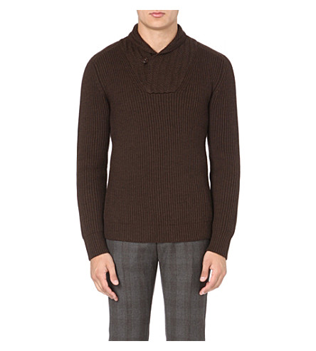 SLOWEAR Shawl neck jumper (Choc