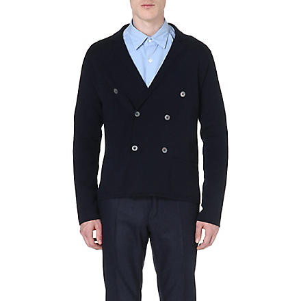 SLOWEAR Double-breasted wool cardigan (Navy