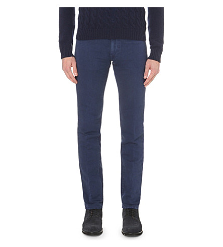 SLOWEAR Slim-fit tapered linen and cotton-blend chinos (Navy