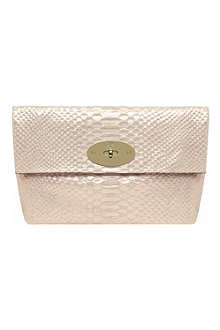 MULBERRY Clemmie oversized metallic snake-print clutch