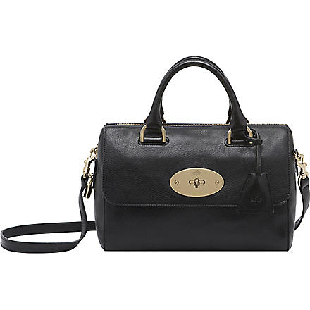 MULBERRY Del Rey small grainy-print leather tote (Black