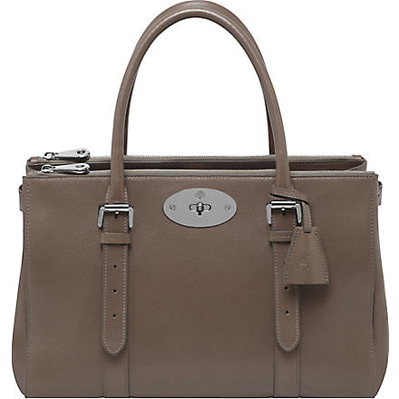 MULBERRY Bayswater double-zip glossy goat leather tote (Taupe