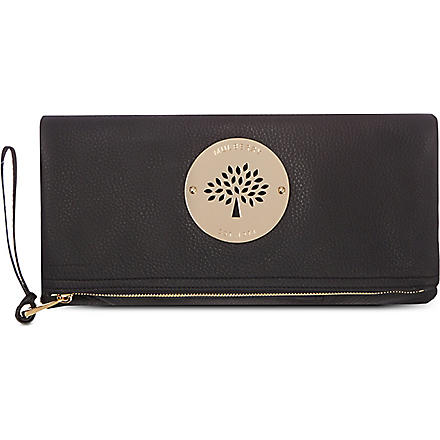 MULBERRY Daria spongy pebbled leather clutch (Black