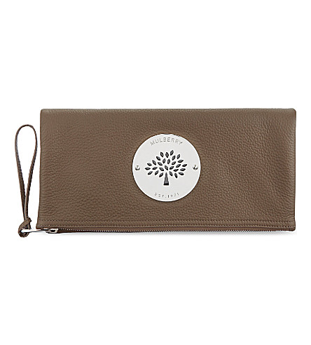 MULBERRY Daria pebbled-leather clutch (Taupe