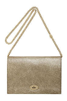 MULBERRY Christy metallic goat leather clutch