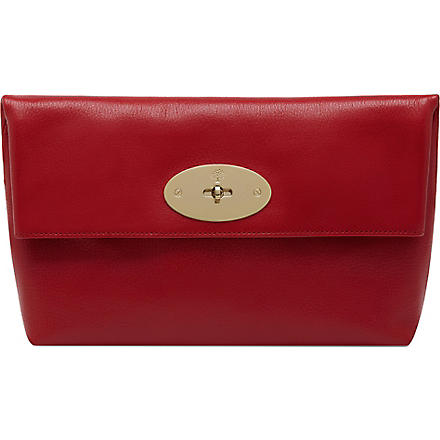 MULBERRY Clemmie glossy goat leather clutch (Bright+red