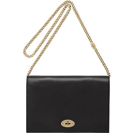 MULBERRY Christy glossy goat leather clutch (Black