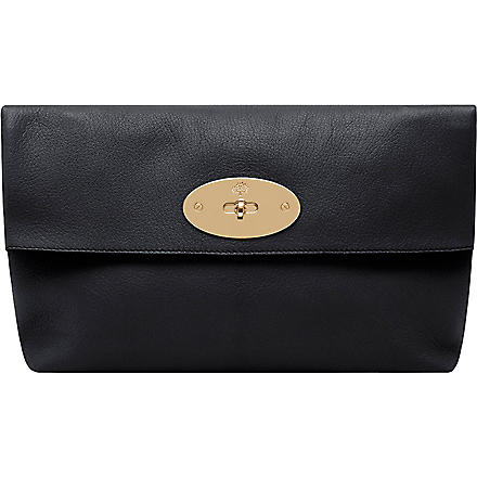 MULBERRY Clemmie glossy goat leather clutch (Black