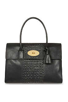 MULBERRY Bayswater croc-stripe leather tote