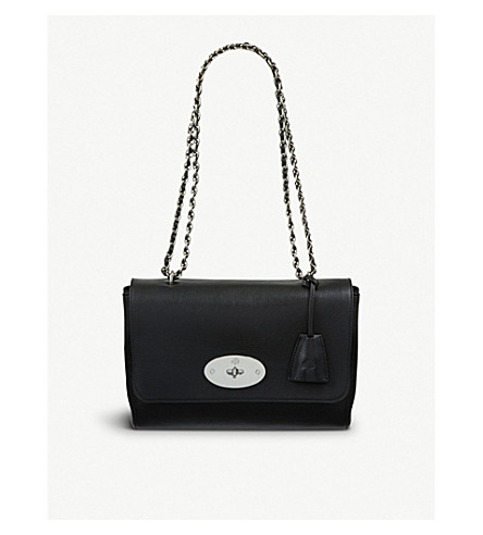 MULBERRY Medium Lily goat-leather shoulder bag (Black/silver