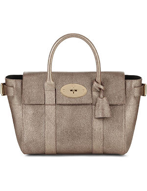 MULBERRY Bayswater Buckle small metallic-goatskin tote