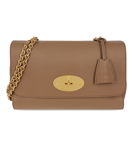 MULBERRY Lily medium leather shoulder bag (Dark+beige