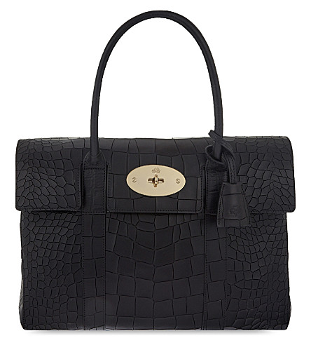 MULBERRY Bayswater croc leather tote bag (Black