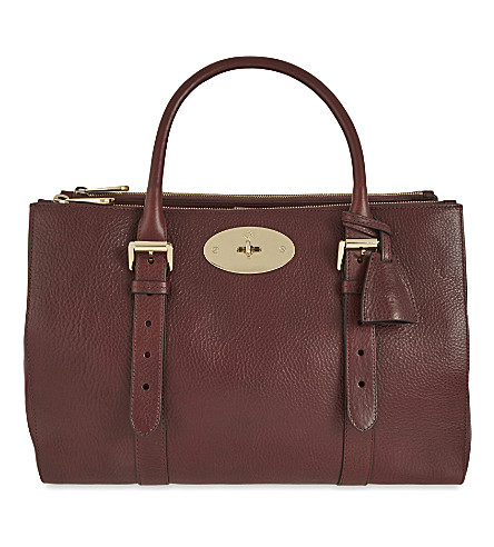 MULBERRY Bayswater leather double zip tote (Oxblood