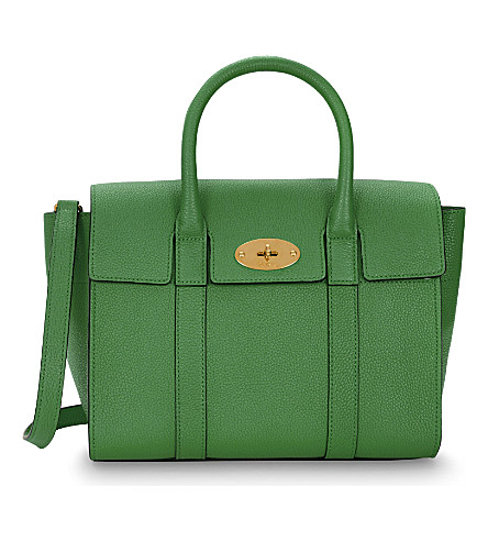 MULBERRY Bayswater small grained leather tote (Grass green