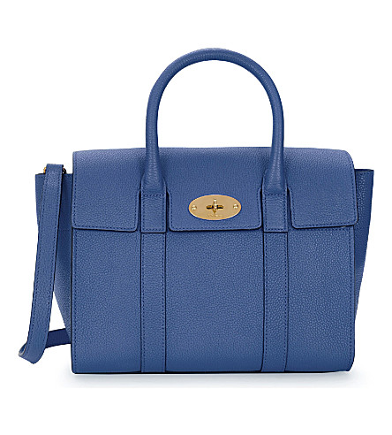 MULBERRY Bayswater small leather tote (Porcelain blue