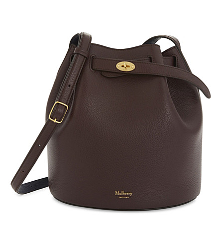 MULBERRY Abbey grained leather bucket bag (Oxblood+blue