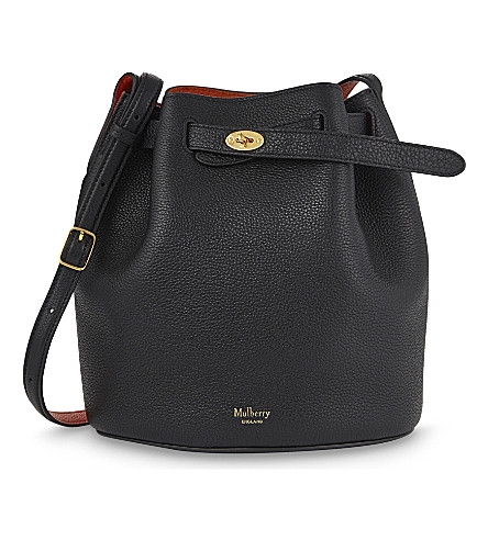 MULBERRY Abbey leather bucket bag (Black+bright+orange