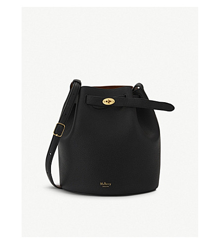 MULBERRY Abbey leather small bucket bag (Black+oak