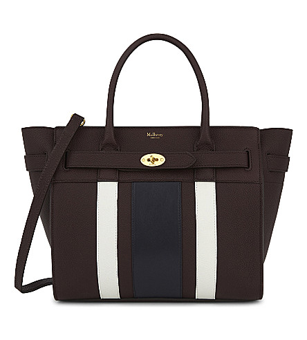 MULBERRY Bayswater tote (Oxblood+white+midnight