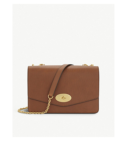 MULBERRY Darley large grained leather cross-body bag (Oak