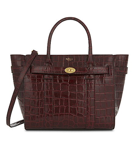 MULBERRY Bayswayer croc-embossed leather tote (Burgundy