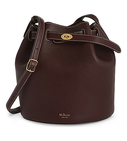 MULBERRY Abbey smooth leather bucket bag (Burgundy