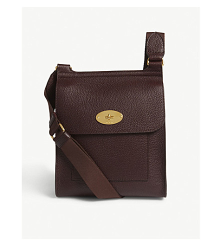 MULBERRY Antony small grained leather messenger bag (Oxblood