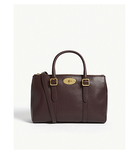 MULBERRY Bayswater small grained leather tote (Oxblood