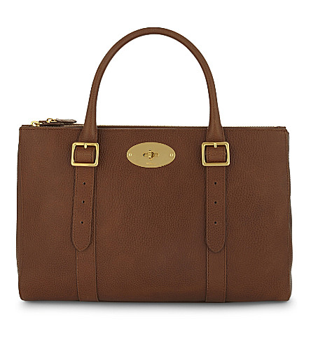 MULBERRY Bayswater medium leather double zipper tote (Oak