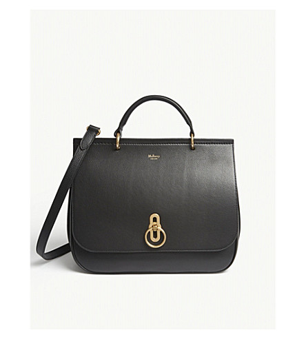 MULBERRY Amberley large grained-leather satchel (Black
