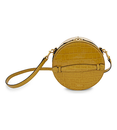 MULBERRY Croc-embossed leather trunk bag (Gold+ochre