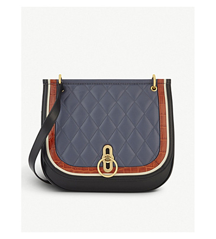 MULBERRY Amberley large leather quilted satchel (Blue+multi